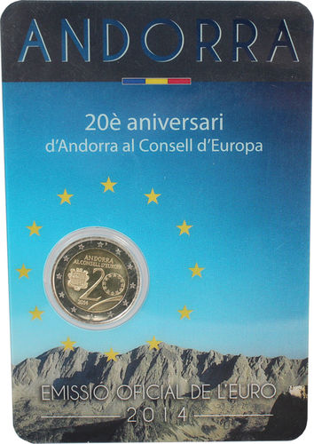 ANDORRA: 2€ 2014 CC Amission to the Council of Europe Bu