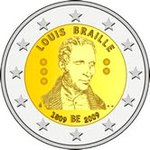Belgium 2 € Commorative 200th anniversary of Louis Braille's birth
