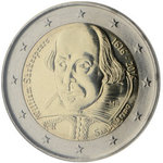 SAN MARINO: 2 € 2016 William Shakespeare Juhlaraha